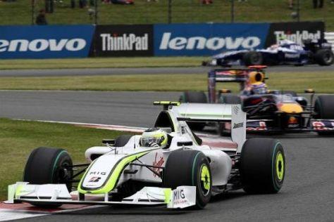 Rubens Barrichello konnte sich nur zu Rennbeginn vor Mark Webber halten