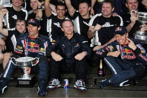 Sebastian Vettel, Christian Horner und Mark Webber bilden derzeit ein gutes Gespann