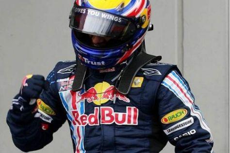 Mark Webber jubelt über seine erste Pole Position