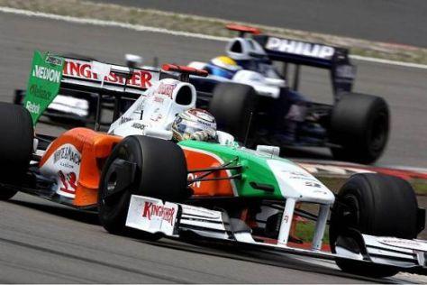 Vor seiner Kollision in der 28. Runde lag Sutil noch knapp vor Nico Rosberg