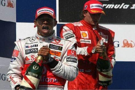 Ex-Weltmeister unter sich: Sieger Lewis Hamilton und Kimi Räikkönen