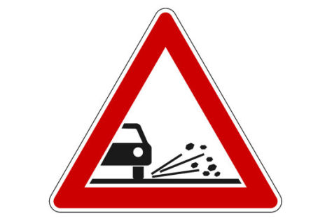 Verkehrszeichen Schotter/Splitt
