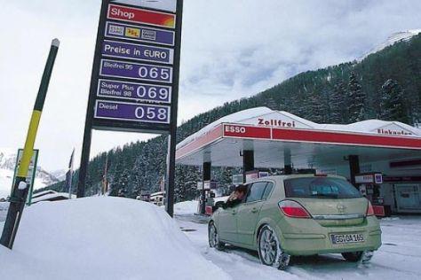 Spritpreise in den Ski-Urlaubsländern