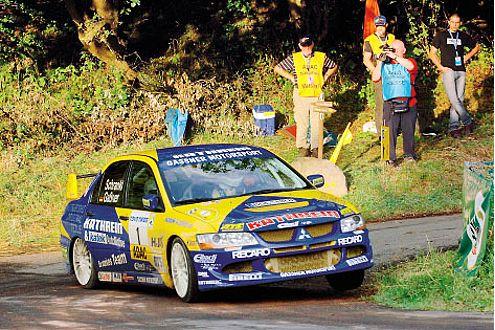 Hermann Gaßner im Mitsubishi, Meister der ADAC Rallye Masters.