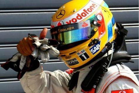 Lewis Hamilton jubelt über die zweite Pole-Position in Folge