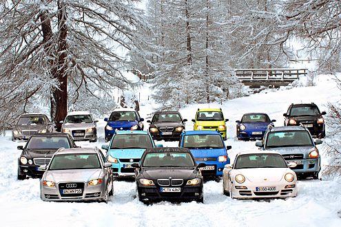 Wer wird Schneekönig? 14 Autos aus sieben Klassen im Antriebstest.