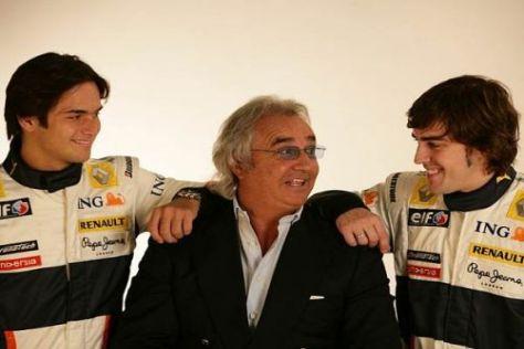 Bild aus besseren Tagen: Nelson Piquet jun. Flavio Briatore und Fernando Alonso