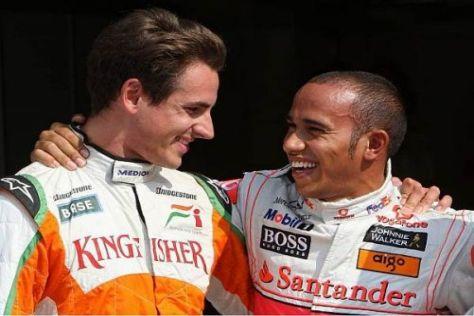 Startreihe eins in Monza: Adrian Sutil und sein Kumpel Lewis Hamilton