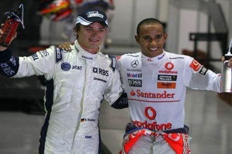 Lewis Hamilton feiert die Pole-Position mit Nico Rosberg