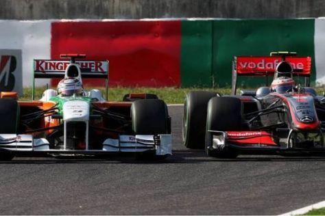 Zwischen Adrian Sutil und Heikki Kovalainen wurde es etwas zu eng