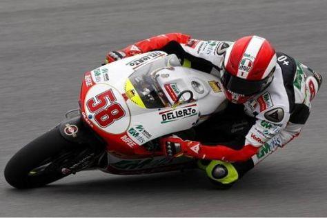Gilera-Fahrer Marco Simoncelli kommt in Estoril immer besser zurecht: Platz eins
