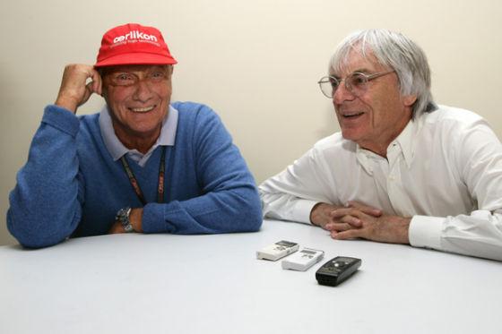 Niki Lauda (l.) mit Bernie Ecclestone