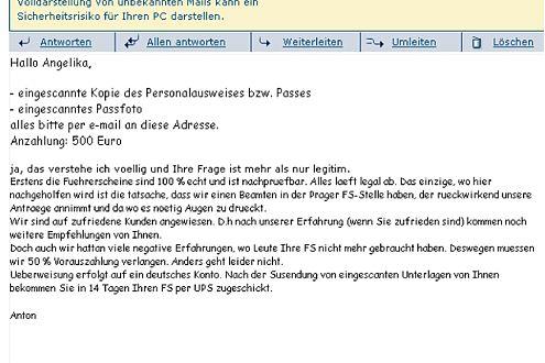 Abwicklung übers Internet. Anton gibt Anweisungen per E-Mail.