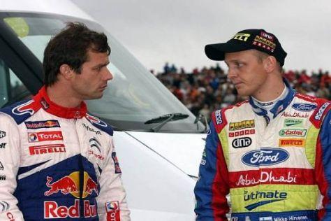 Nur einer kann gewinnen: die Titelrivalen Sébastien Loeb und Mikko Hirvonen