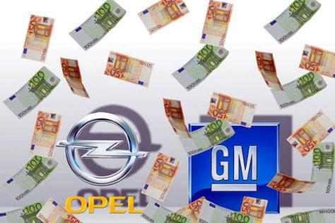 Opel- und GM-Logo mit Geldregen