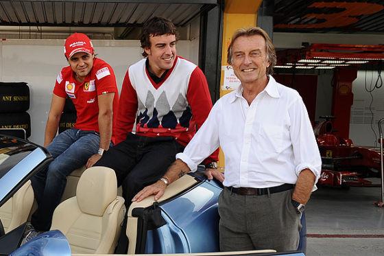 Alonso mit Massa und Ferrari-Präsident di Montezemolo