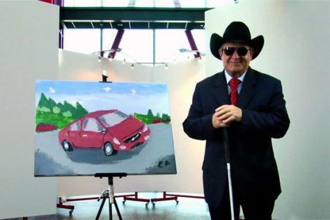Esref Armagan und sein Gemälde vom Volvo S60