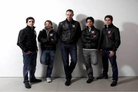 Nick Wirth und die Fahrer: Álvaro Parente, Timo Glock, Lucas di Grassi, Luiz Razia
