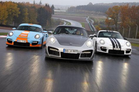 Vergleich drei getunte Porsche 911 GT2