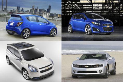 Chevrolet Aveo RS Showcar, Orlando Showcar und Camaro