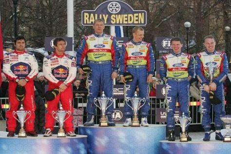 Das Podium von Schweden: Loeb/Elena, Hirvonen/Lehtinen und Latvala/Anttila