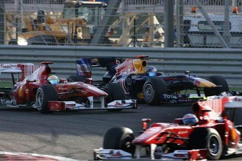 Runde 34/35: Sebastian Vettel war gegen die beiden Ferraris machtlos