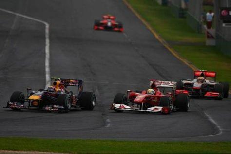 Mark Webber kämpfte lange gegen Felipe Massa und Lewis Hamilton