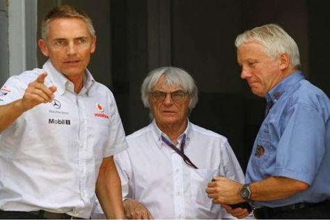 Martin Whitmarsh mit Bernie Ecclestone und FIA-Mann Charlie Whiting