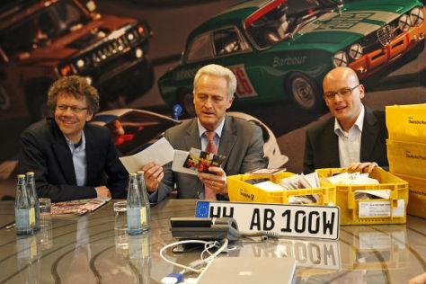 Verkehrsminister Ramsauer (m.) mit Chefredakteur Wieland (l.) und Reporter Maintz