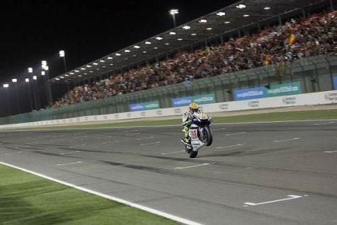 Valentino Rossi im Ziel: Kurz danach blieb seine Yamaha ohne Sprit liegen