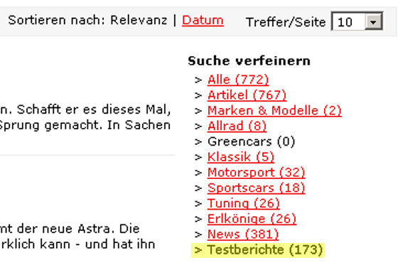 """Jetzt mit Filterfunktion: Im Beispiel wurde """"Opel Astra"""" gesucht und nach Testberichten sortiert."""