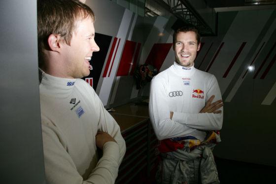 Da hatten beide noch gut lachen: Mattias Ekström (links) mit Audi-Teamkollege Martin Tomczyk.