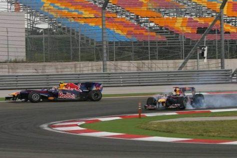 Webber rutscht geradeaus und Vettel kreiselt - das wollte der Chef nicht sehen...