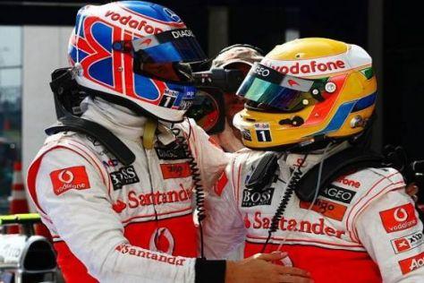 Lewis Hamilton und Jenson Button boten in der Endphase eine gute Show
