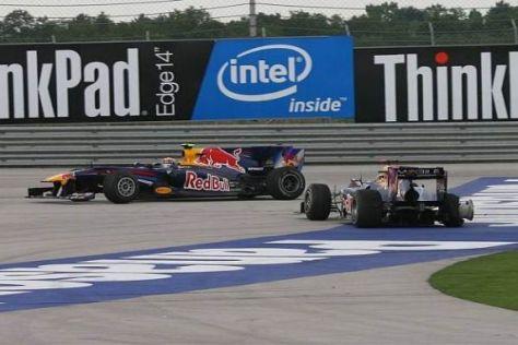 Das Ende vom Lied: Mark Webber (links) und Sebastian Vettel in der Auslaufzone