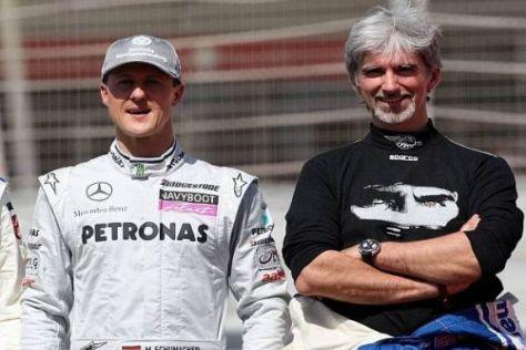 Ehemalige Rivalen der Rennbahn: Michael Schumacher und Damon Hill