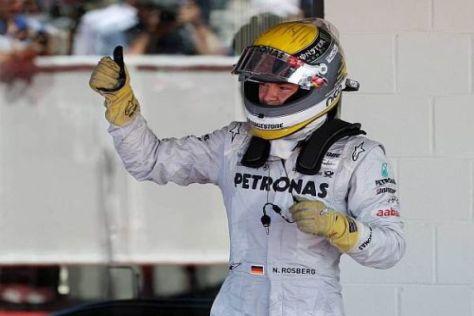Nico Rosberg jubelt über seinen dritten Rang in Silverstone