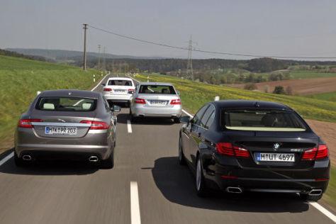 Jaguar XF Audi S6 Mercedes E 500 BMW 550i