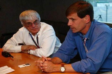 Schmieden die US-Pläne: Bernie Ecclestone und Promoter Tavo Hellmund