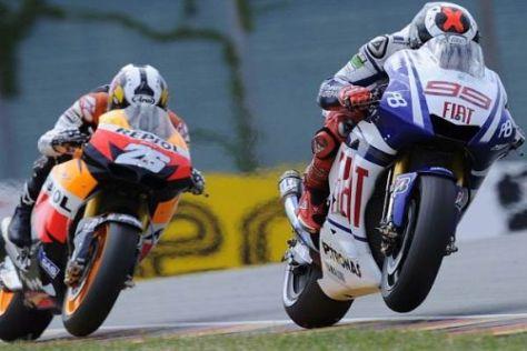 Jorge Lorenzo war am Freitag rund eine halbe Sekunde schneller als Dani Pedrosa