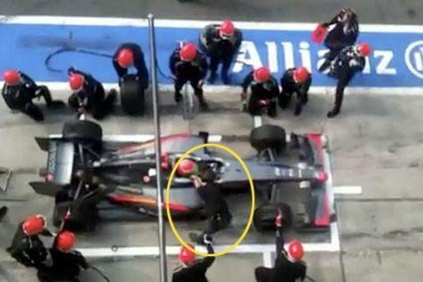 Formel 1 GP Monza Unfall in der HRT-Box