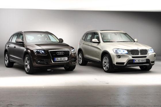 Ganz klar vorne: In Sachen Fahrdynamik hängt der BMW X3 den Audi Q5 ab.
