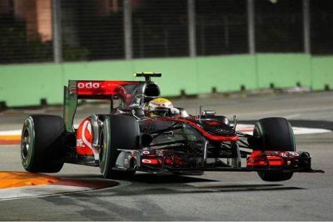 Voller Einsatz und den Sieg im Visier: Lewis Hamilton im McLaren-Mercedes