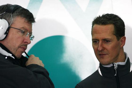Ross Brawn mit Michael Schumacher
