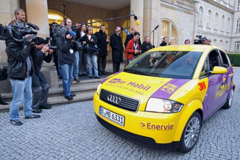 E-Auto Audi A2 auf Rekordfahrt