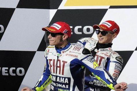 Wieder gemeinsam auf dem Podest: Valentino Rossi und Jorge Lorenzo