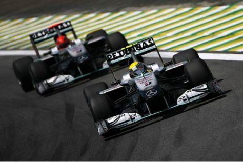 Nico Rosberg und Michael Schumacher lagen am Freitag eng beisammen
