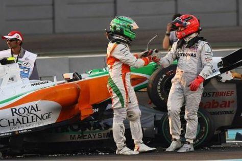 Vitantonio Liuzzi und Michael Schumacher hatten Glück im Unglück