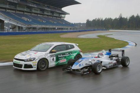 VW Scirocco R Cup neben Formel 3 Euroserie Auto