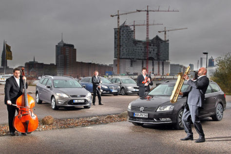 Ford Mondeo Tunier 2.0 TDCi Opel Insignia Sports Tourer 2.0 CDTI Skoda Superb Combi 2.0 TDI VW Passat Variant Blue TDI